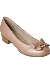 Sapato Modare Nude Com Detalhe De Laço