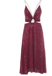 Vestido Midi Textura Cabernet - Vinho