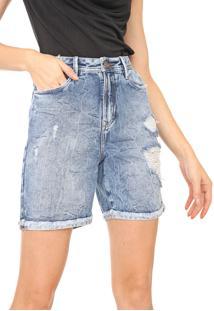 Bermuda Jeans Carmim Reta Carla Azul