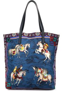 Shanghai Tang Bolsa Tote Shopping 'Mongolian Horsemen' - Azul