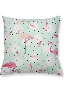 Capa De Almofada Decorativa Own Flamingos Fundo Verde Com Poá 45X45 - Somente Capa