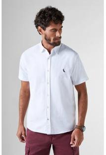 Camisa Reserva Regular Detalhes Pois Mc Masculina - Masculino-Branco