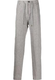 Eleventy Micro Check Drawstring Waist Trousers - Branco