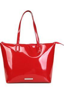 Bolsa Loucos & Santos Shopper Verniz Feminina - Feminino-Vermelho