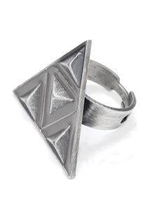 Anel Simone Salles Triângulos Metal Pv/Cinza - Regulável