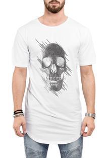 Camiseta Criativa Urbana Long Line Oversized Caveira Estilizada - Masculino-Branco