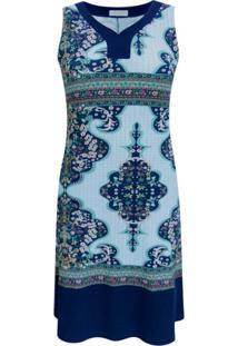 Vestido Pau A Pique Regata Estampado Azul