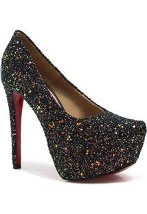 Sapato Feminino Pump Zariff Salto Fino Glitter