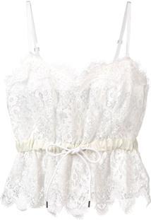 Sacai Blusa Cropped Com Detalhe De Renda - Branco
