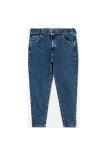 Calca Skinny Jeans Com Cinto E Fivela De Metal Curve E Plus Size Azul