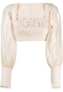 Zimmermann Super Eight Linen Cropped Blouse - Rosa