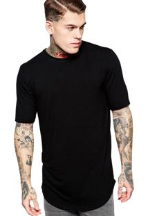 Camiseta Di Nuevo Alongada Longline Lisa Oversized Básica Preta