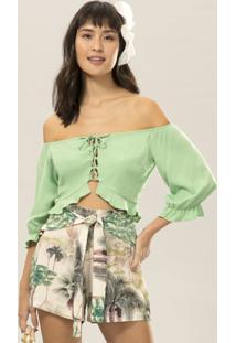 Blusa Cropped Ciganinha Verde Inspire - Lez A Lez