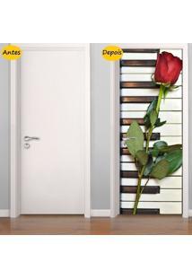 Adesivo De Porta Piano Com Rosa (0,80M X 2,10M)