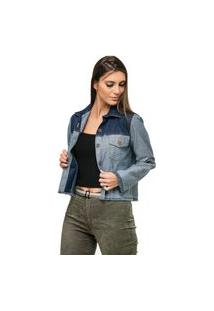 Jaqueta Pele Macia Jeans Bicolor