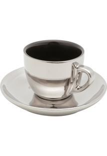 Conjunto De 6 Xícaras De Porcelana Wolff Para Chá Com Pires Preto E Prata Versa 220Ml
