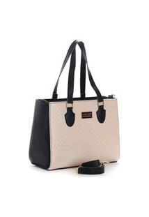 Bolsa Feminina Bicolor Santorini Handbag Preto/Creme