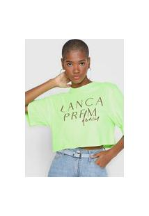 Camiseta Cropped Lança Perfume Logo Verde