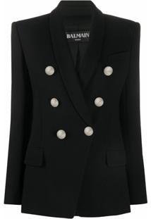 Balmain Blazer Com Abotoamento Duplo - Preto