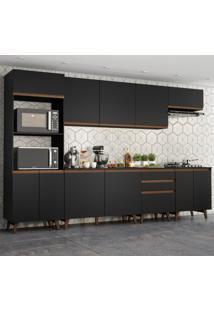 Cozinha Completa Madesa Reims 320002 Com Armã¡Rio E Balcã£O - Preto Preto - Preto - Dafiti