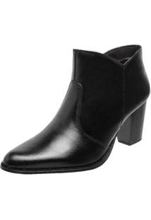 Bota Ankle Boot Miuzzi Couro Bico Fino Feminina Elegante - Feminino