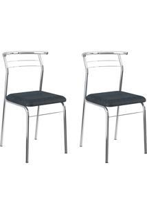 Kit 2 Cadeiras 1708 Jeans/Cromado - Carraro Móveis