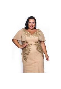 Vestido Almaria Plus Size Pianeta Longo Capa Renda Bordado Dourado