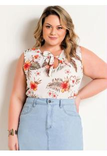 Blusa Plus Size Com Amarração No Decote Floral