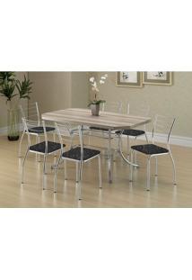 Mesa 1507 Nogueira Cromada Com 6 Cadeiras 1700 Fantasia Preto Carraro