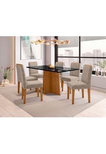 Conjunto De Mesa De Jantar Com Tampo De Vidro E 6 Cadeiras Ana Animalle Nero E Cinza160 Cm