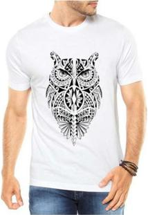 Camiseta Criativa Urbana Coruja Tribal - Masculino-Branco