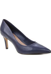 Scarpin Couro Shoestock Liso Salto Médio - Feminino-Marinho