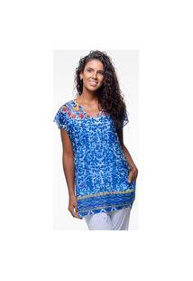 Blusa 101 Resort Wear Saida De Praia Estampada Crepe Decote V Azul