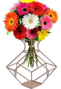 Vaso Decorativo De Metal - Incolor - Dafiti