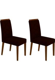 Conjunto Com 2 Cadeiras Caroline Castanho E Marrom Escuro