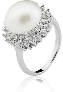 Anel Le Diamond Pã©Rola Rã³Dio Branco - Branco - Feminino - Dafiti