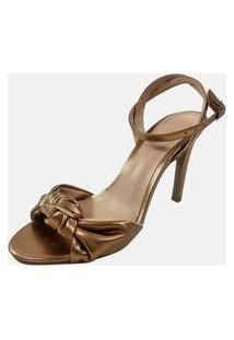 Sandália Salto Alto Vendrata Clássico Milão Bronze