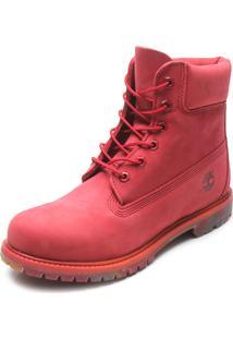 Bota Couro Timberland Yellow Boot Vermelha