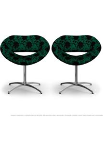 Kit 2 Cadeiras Beijo Floral Preto E Verde Poltrona Decorativa Com Base Giratória