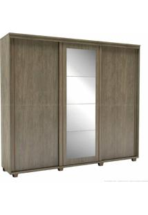 Guarda-Roupa 3 Portas De Correr 6 Gavetas Com Pés Inovatto 100% Mdf 230 X 267 X 60 Com Espelho Ébano - Belmax Móveis