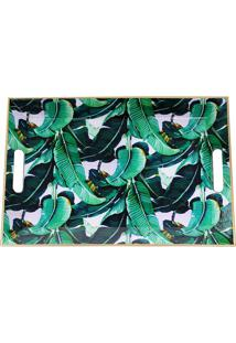 Bandeja Estampada- Verde & Branca- 3,5X45,5X33Cmmabruk