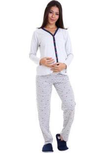 Pijama Longo De Inverno Gestante Luna Cuore Feminino - Feminino-Cinza
