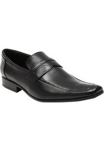 Sapato Social Slim Em Couro Com Tira- Pretocns