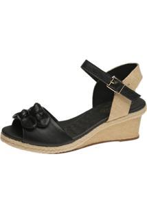 Sandália Anabela Laço Doctor Shoes 661 Preto