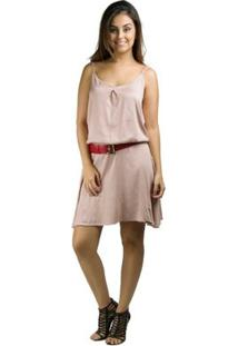 Vestido Viscose Com Alça E Cinto Banna Hanna - Feminino-Bege