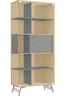 Cristaleira 2 Portas De Vidro - Po601 Pop - Kappesberg Pine/Cinza