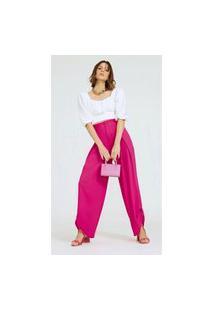 Calça Morena Rosa Pantalona Cós Alto Com Martingale Rosa