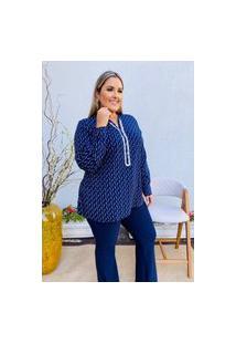 Camisa Feminina Mac-Lu Manga Longa Estampada Lina Premium Azul Marinho Live