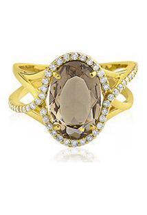 Anel Ouro Amarelo Quartzo Fumê E Diamantes