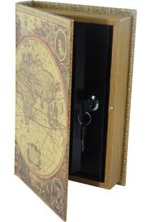 Porta Objetos Kasa Ideia Com Chave Livro 26X17Cm Bege